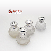 Floral Laurel Salt Pepper Shakers Sterling Silver Cut Crystal 4 Pieces Wilcox Silver Plate Co
