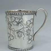 Coin Silver Cup Repousse Grapevines 1855 Fessenden