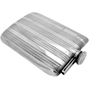 Art Deco Hip Flask Sterling Silver EAM 1930