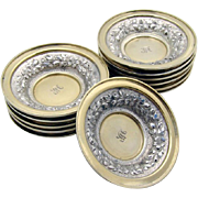 Ornate Embossed Nut Cups Sterling Silver 12 Pieces Duhme 1880