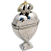 SOLD Crowned Heart Spice Box Scandinavian Silver 19th Century