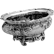 Ornate Scroll Shell Master Open Salt Dish Sterling Silver Gorham 1916