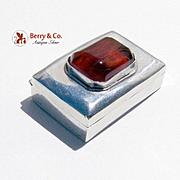 Small Pill Box Sterling Silver Carnelian Glass Gem Mexico 1960