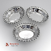 Decorative Openwork Nut Cups Sterling Silver 3 Pieces SML 1930