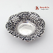 Ornate Embossed Openwork Small Serving Dish Nut Cup Sterling Silver H Matthews 1899