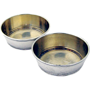 Small Threaded Open Salt Dishes Sterling Silver Pair Gorham 1900