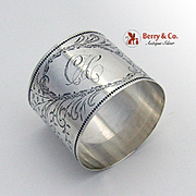 SOLD Aesthetic Foliate Napkin Ring Sterling Silver 1900