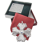Christmas Cross Ornament Sterling Silver Reed and Barton 1996
