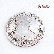 SALE PENDING Carlos IIII Spanish Colonial 8 Reales Coin Coin Silver Mexico City 1796