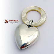 Heart Baby Rattle Teething Ring Sterling Silver Mother Of Pearl 1950