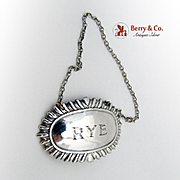 Gadrooned Rye Whiskey Oval Bottle Tag Sterling Silver 1930