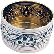 Floral Repousse Salt Dish Sterling Silver Whiting 1880