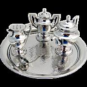 Miniature Figural Salt Pepper Mustard Set Sterling Silver Glass 4 Pieces Japan 1960