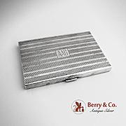 Art Deco Engine Turned Cigarette Case Sterling Silver Volupte 1940