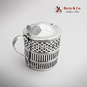 SALE PENDING Cut Work Mustard Pot Sterling Silver Crystal Webster 1920