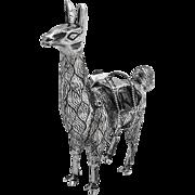 Detailed Llama Figurine Sterling Silver Emerald Peru 1960