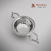 Georgian Revival Scroll Over The Cup Tea Strainer Sterling Silver JP 1901