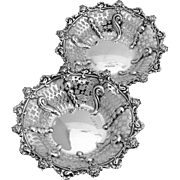 English Rose Aesthetic Cutwork Bowls Sterling Silver 2 Pieces William Neale 1895
