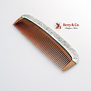Floral Scroll Hair Comb Sterling Silver 1970