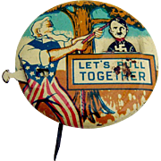 Lets Pull Together Uncle Sam Patriotic Mechanical Pinback Button Evans Novelty Co 1940