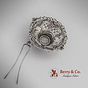 Unusual Ornate Spout Tea Strainer Basket French 950 Sterling Silver Henri Gabert 1890