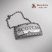 Scotch  Bottle Tag Stieff Williamsburg Sterling Silver 1950