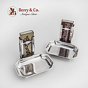 Pair of Match Safe Holders with Attached Ashtrays Sterling Silver Zanesales Co Berkeley