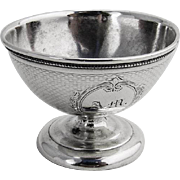 Engine Turned Open Salt Dish Coin Silver Peter L Kreider