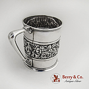 Ornate Cup Repousse Decorations Aesthetic Style Sterling Silver 1879