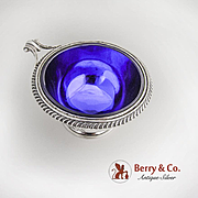 Serving Bowl Cobalt Glass Lined Onslow Handle Redlich Sterling Silver 1935 Mono VMF