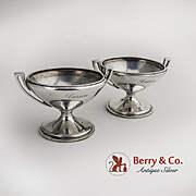 Pair Open Salt Dishes Cellars Coin Silver Gorham Silversmiths 1860