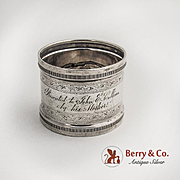 Coin Silver Napkin Ring Presentation Inscription 1880