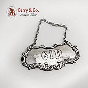 Vintage Gin Bottle Tag Label Sterling Silver Gorham Silversmiths