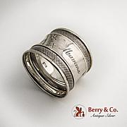 Aesthetic Napkin Ring Coin Silver 1880 Monogram Mamma