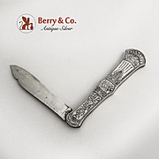 Aesthetic Folding Pocket or Fruit Knife Silver Plate 1880