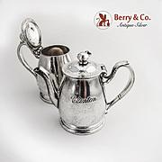 Hotel Silver Pair of Tea Pots Clinton Cafeteria