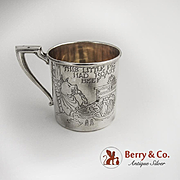Vintage Nursery Rhyme baby Cup Sterling Silver Webster 1930