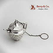 Figural Teapot Tea Ball Sterling Silver Webster 1920