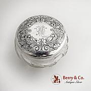 Acid Etched Dresser Jar Sterling Silver Lid Cut Crystal Body 1910
