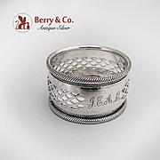 Sterling Napkin Ring Geometric Pierced Designs Birmingham 1898