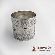 Aesthetic Engraved Napkin Ring Coin Silver 1880 Monogram MBA