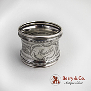 Engine Turned Napkin Ring 800 Silver Germany 1900 Monogram Martha