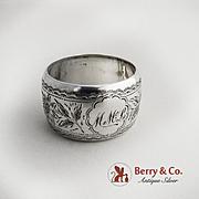 Floral Engraved napkin Ring Sterling Silver 1897