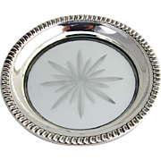 Coaster or Lemon Dish Gadrooned Sterling Border Cut Crystal 1940