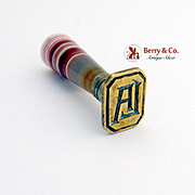 Vintage Wax Seal Seal Agate Handle Brass Monogram LA 1900