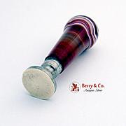 Vintage Wax Seal Seal Agate Handle Brass No Monogram 1900