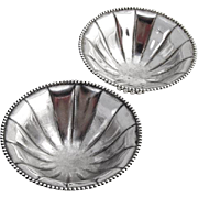 Pair Open Salt Dishes Beaded Rims Sterling Silver 1930