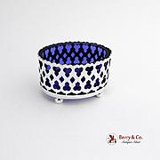 Oval Open Salt Dish Sterling Silver Cobalt Blue Glass Portugal 1940