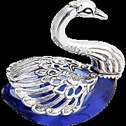 Vintage Swan Open Salt Dish Cobalt Blue Cut Glass 800 Silver 1940