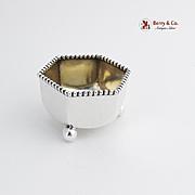 Hexagonal Open Salt Dish Beaded Rim Ball Feet National Silver Co 1910